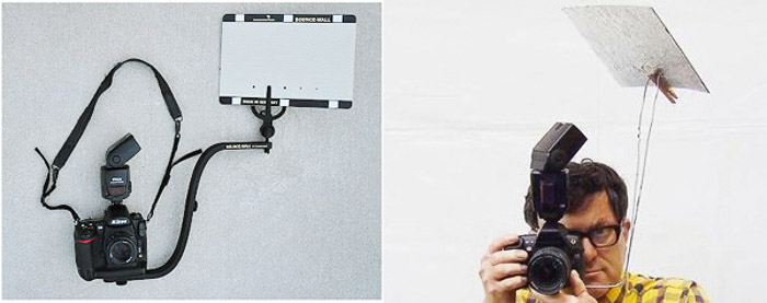 Diptych showing a diy photography lighting bounce wall