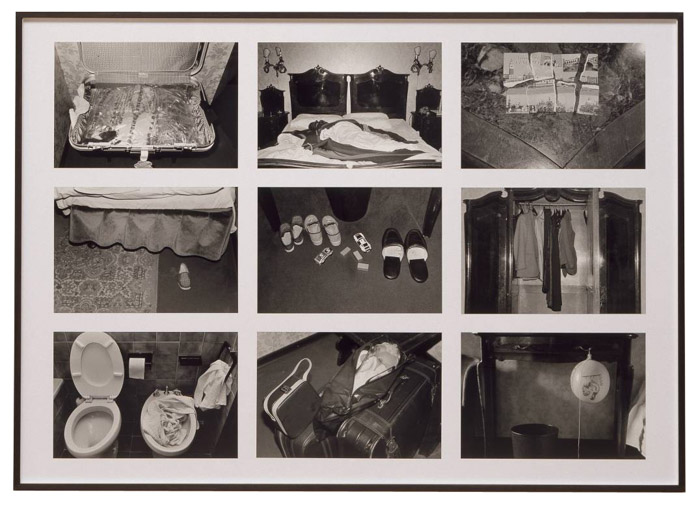 A black and white photo grid by Sophie Calle