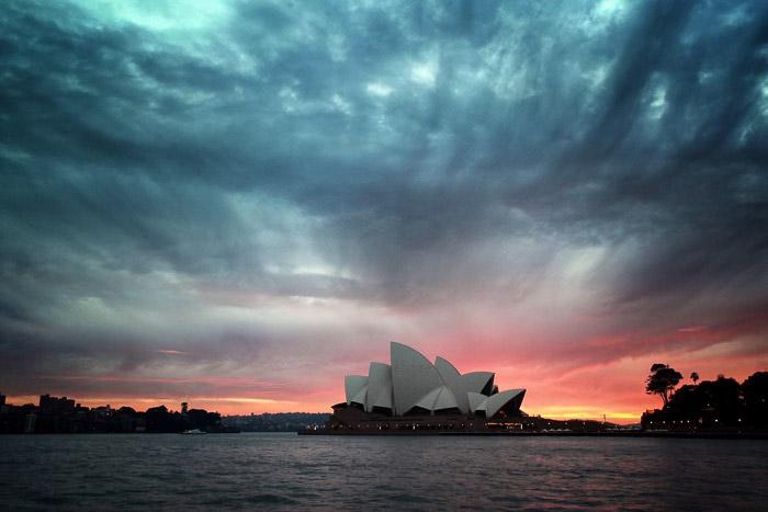 Fotografia do pôr do sol na Ópera de Sydney