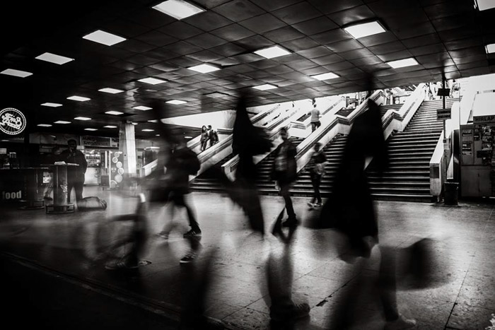 Long exposure black and white photograph of a metro station in Budapest Hungary