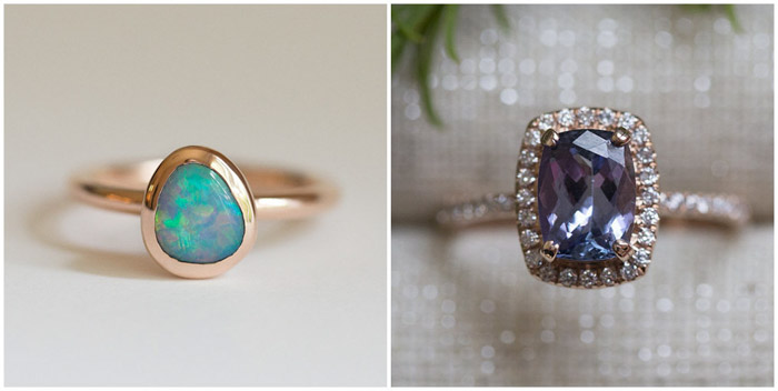 Two images of rings to show the difference between using different backgrounds for product photography
