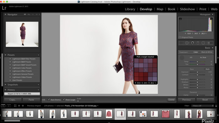 Using Lightroom to post-process your product photography images