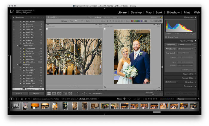 a screenshot of editing a wedding photo on lightroom
