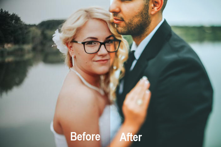 A before and after editing split-screen of a wedding portrait