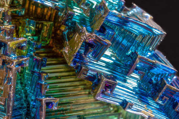 Abstract macro photography of blue crystal