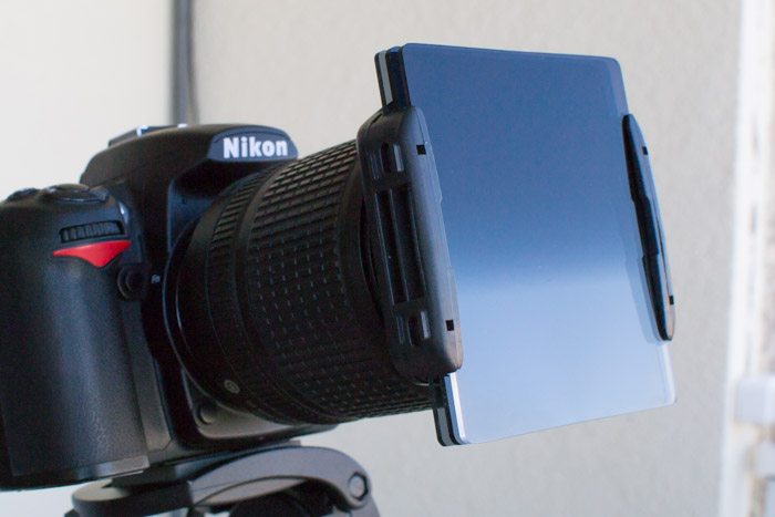 A neutral density filter mounted on a Nikon camera