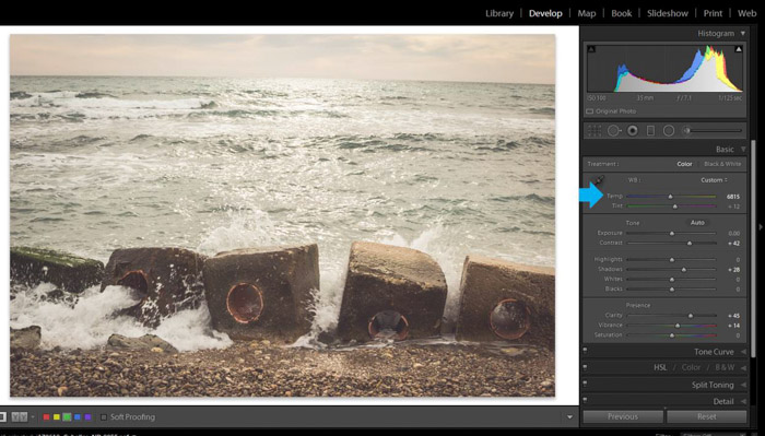 Screenshot of using Adobe lightroom for post processing a seascape photo