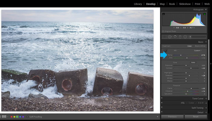 A screenshot of using Adobe lightroom for post processing beach photography