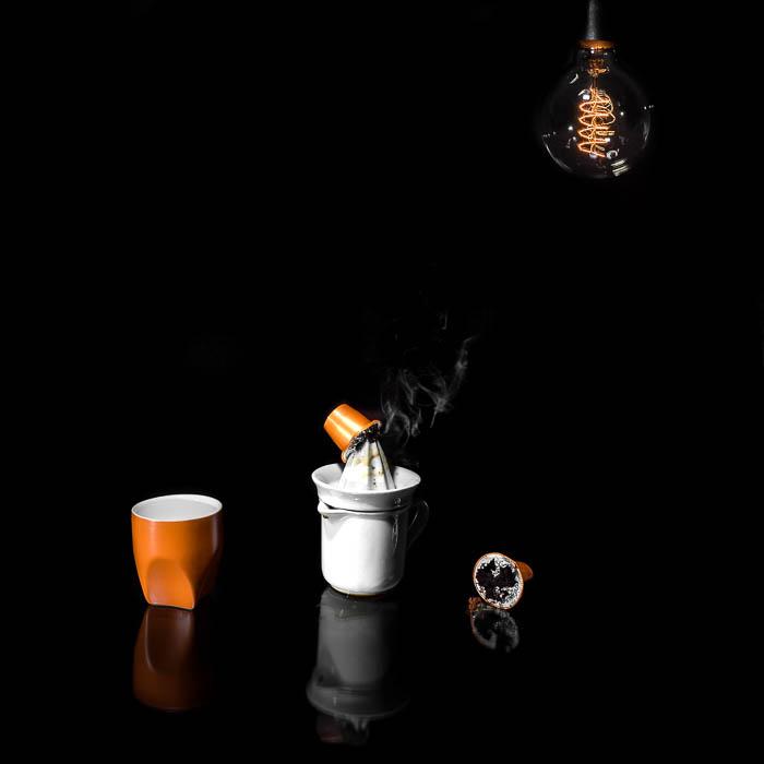 Creative photo of coffee making equipment on black background