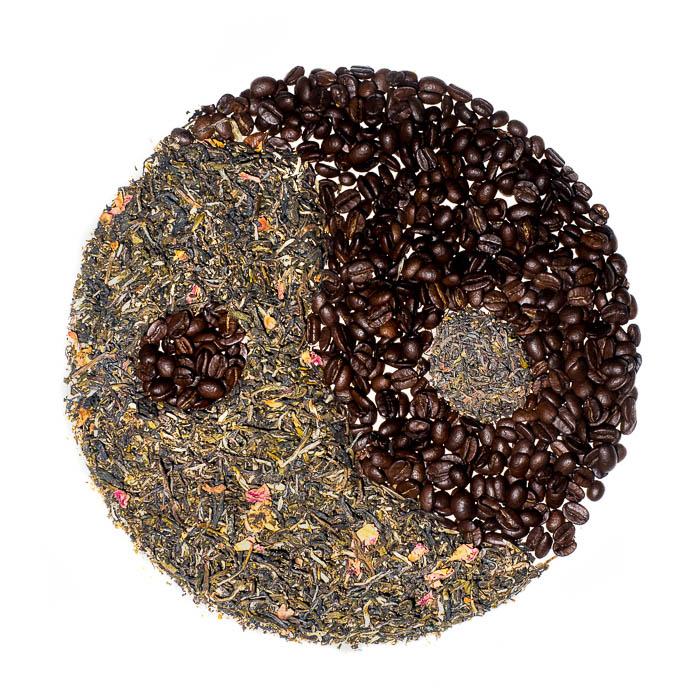 Creative flat lay of coffee and tea yin yang symbol