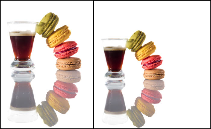 Diptych of macaroons and coffee using a white background in creative food photography