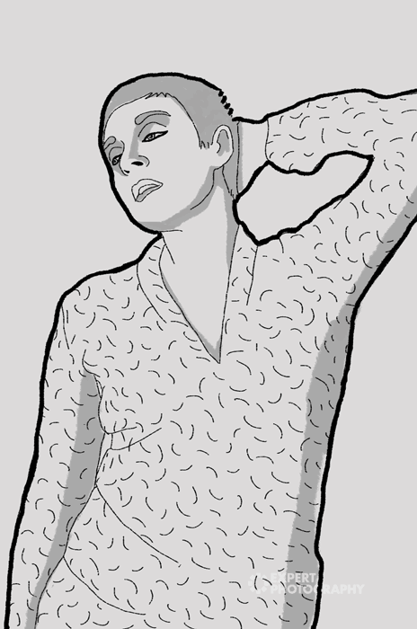 A line drawing of a woman posing - family photography