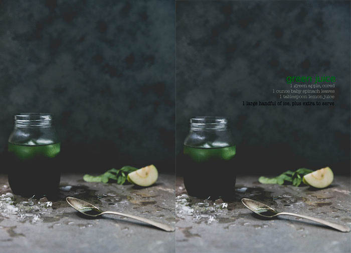 Diptych cookbook food photography of a jar of green liquid, the right image with the recipe text overlayed