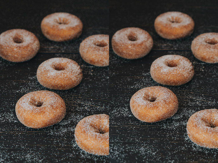 Diptych photo of sugared donuts