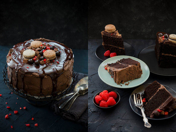 food photography decadent chocolate cake
