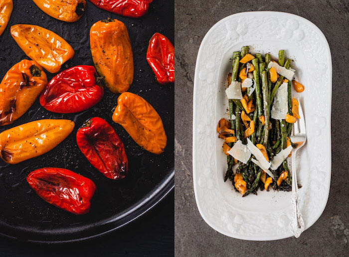 Two photos side by side, on the left grilled yellow and red peppers, on the right asparagus with mushrooms and parmesan cheese