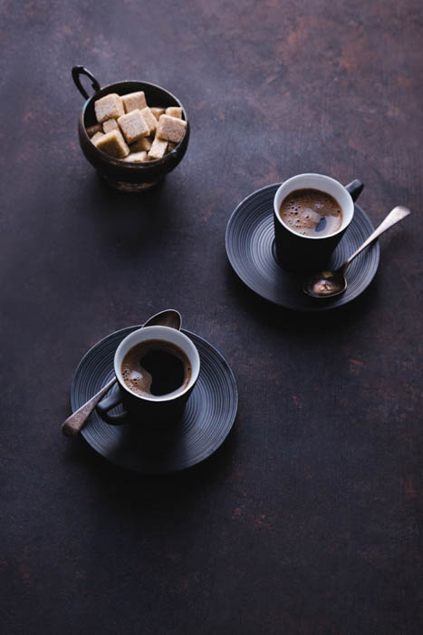 two cups of Turkish coffee from above