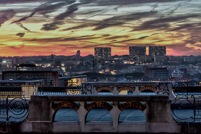 dramatic colourful skyline of Brussels from the belvedere of Place Poelaert (Justice Palace).