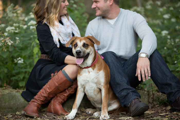 A lifestyle engagement photo showing a couple sitting down in the park with their dog and smiling at each other