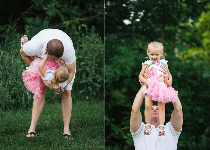 pair of lifestyle photographs capturing a father and little girl laughing and playing in the park