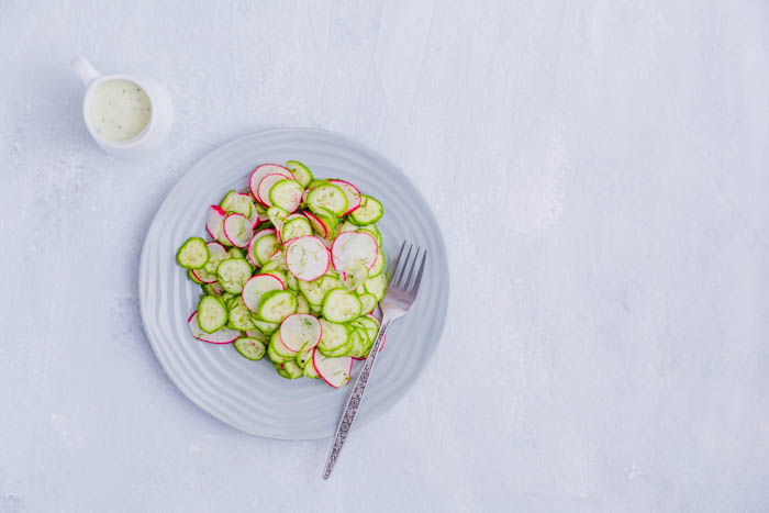 radish and cucumber salad with sauce