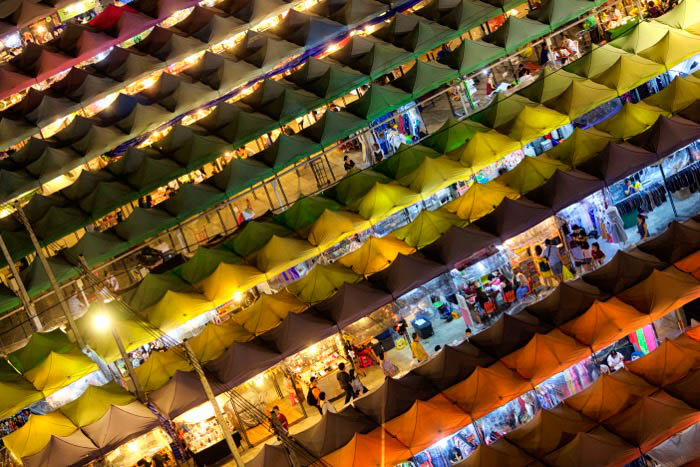 An aerial view of a market place at night