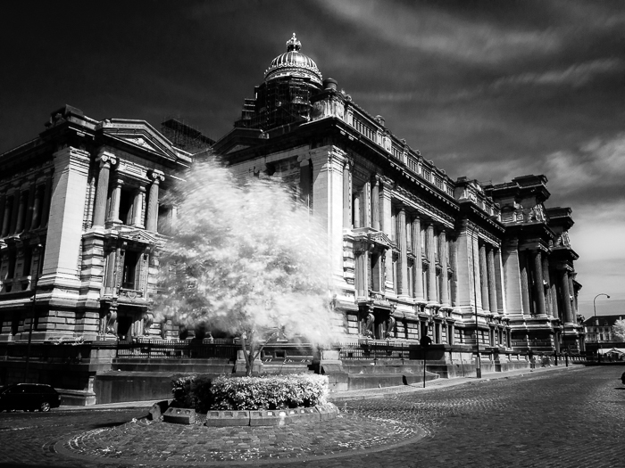 Infrared black and white photo of the facade of the Justice Palace in Brussels