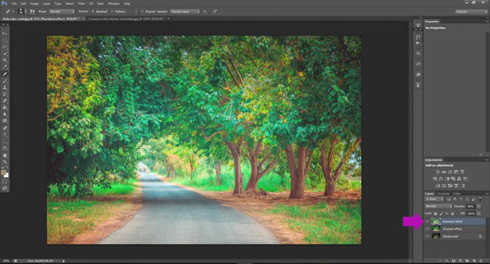 A screenshot showing how to turn photos into paintings using Photoshop