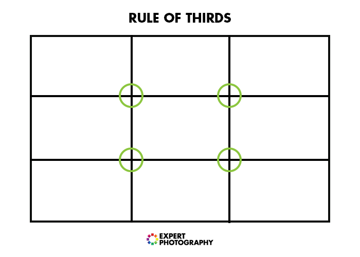 A diagram of the rule of thirds for food photography composition