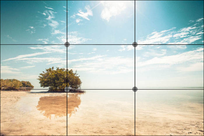 rule of thirds grid over a travel pictures of a beach