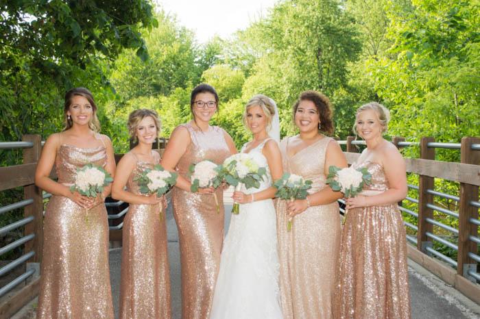 classic bride and bridesmaids pose