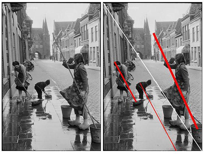 Díptico Foto da cena da rua destacando a técnica de composição fotográfica de Henri Cartier Bressons