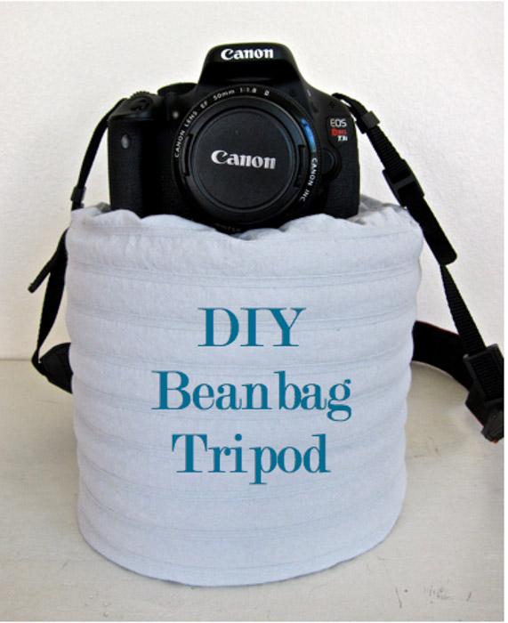 Um saco de feijão é um ótimo substituto DIY para um tripé caro.