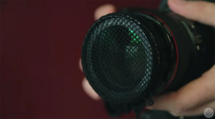 Netting over a dslr camera as a DIY photography filter