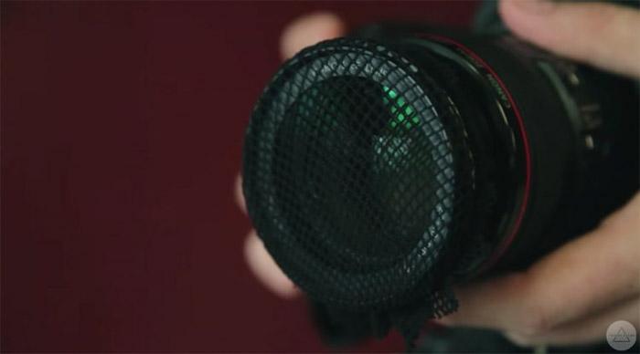 Rede sobre uma câmera DSLR como um filtro de fotografia DIY