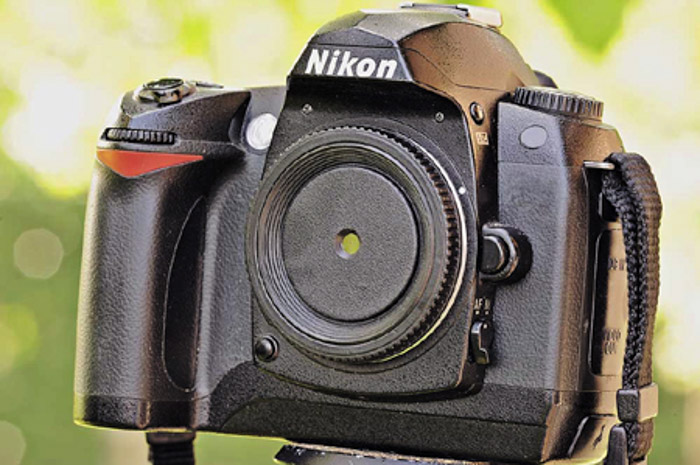 A pinhole on your DSLR will create some simple and interesting DIY photography shots