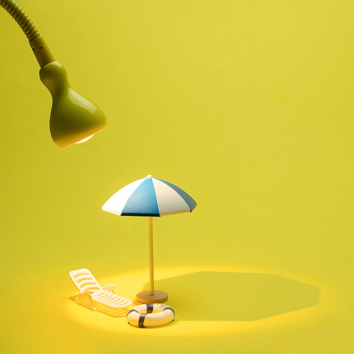 a product image photography lighting setup with yellowed background