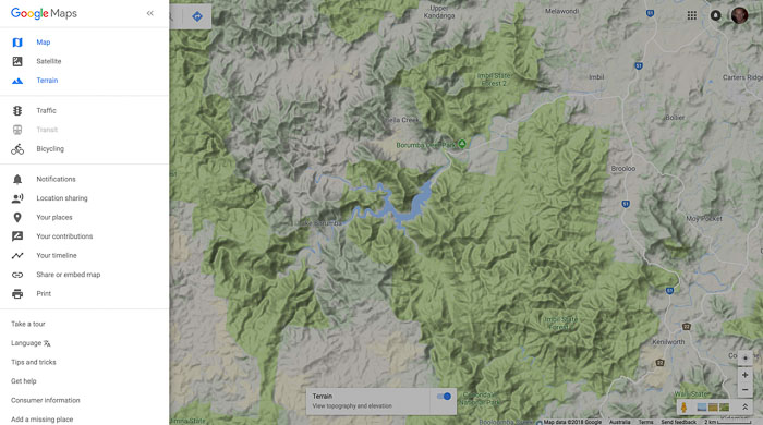 screenshot of google maps terrain view for researching landscape for drone photography