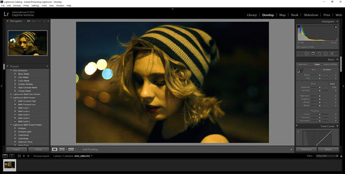screenshot of editing fashion photography in lightroom