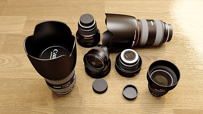 choosing the best lens for landscape photography -set of different landscape lenses