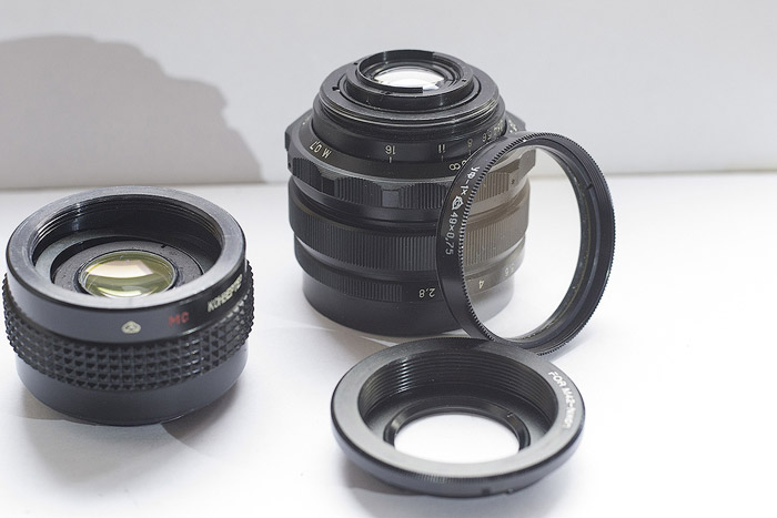 lens with lens filters and adapter ring