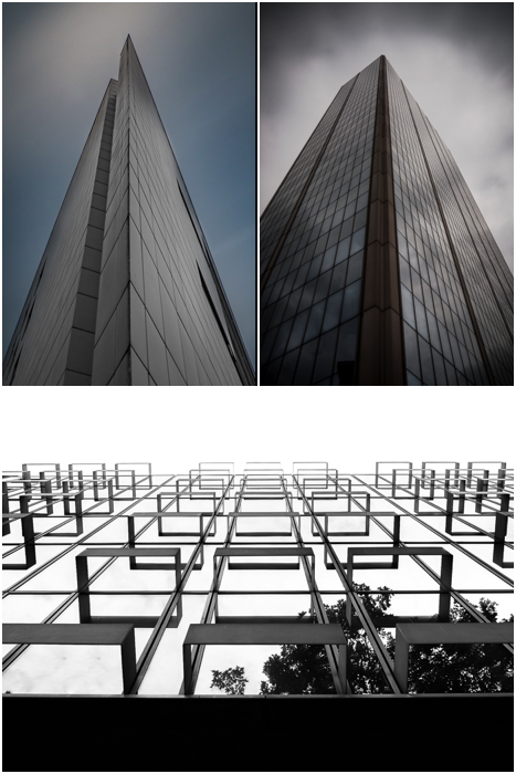 three photo collage showing interesting angles to shoot the facade of buildings. architectural photography