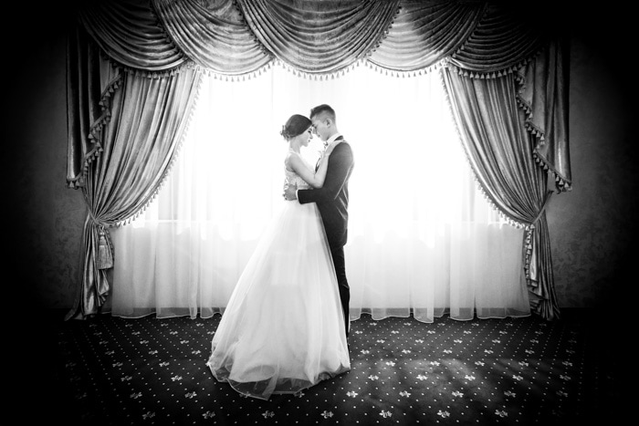 A black and white wedding portrait