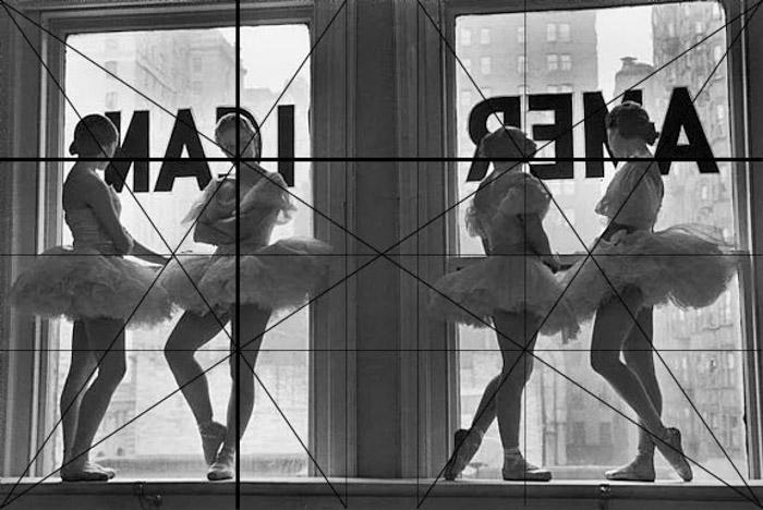Foto de Alfred Eisenstaedt de bailarinas com grade de composição fotográfica sobreposta