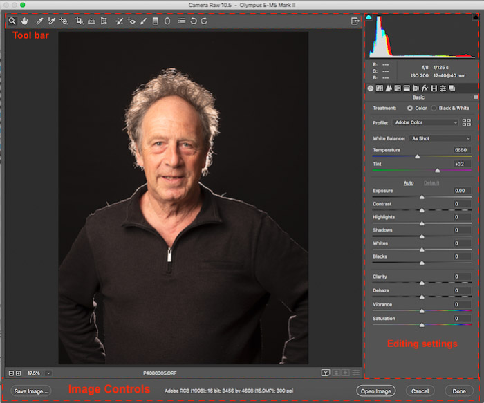 A screenshot of retouching family photography in Lightroom