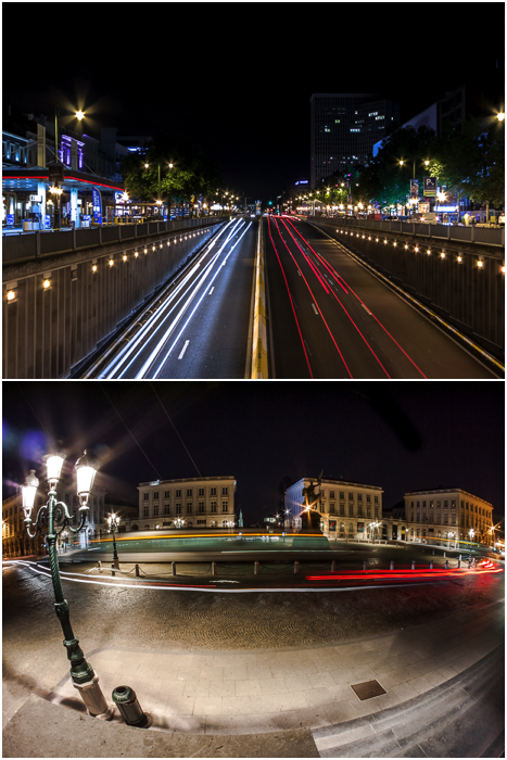 two urban photography shots of light trails from traffic at night