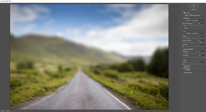 a screenshot showing how to make a blurred background in Photoshop