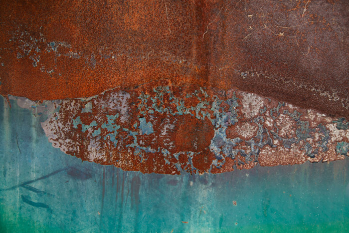 Close up photograph of rusted metal. Abstract photography ideas.