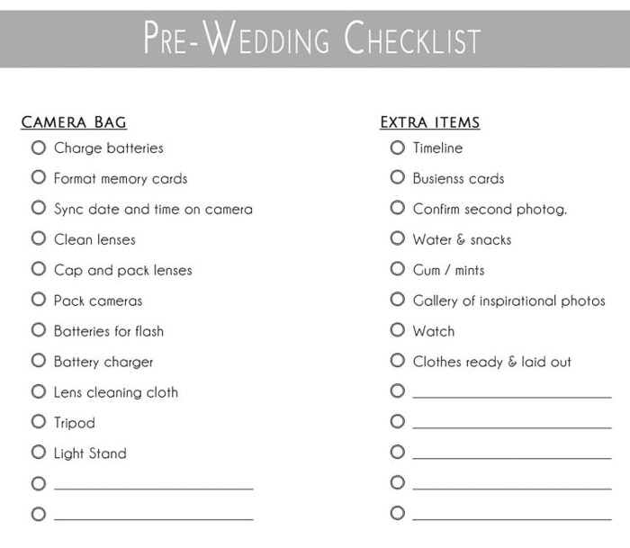 pre-wedding checklist. Amateur Wedding Photography