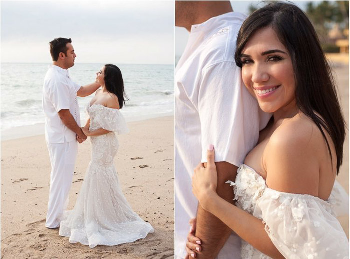 Diptych photo collage of a newlywed couple kissing on the beach on a clear day. Amateur wedding photography.